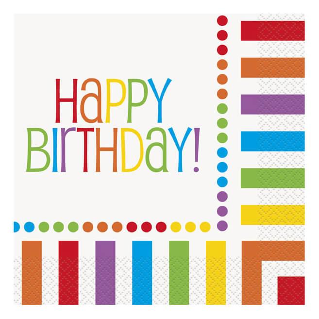 Tovaglioli Arcobaleno compleanno con scritta happy BDay 16 pezzi