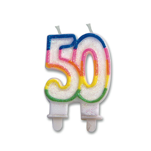 Candelina numero 50 per torta 1 pezzo