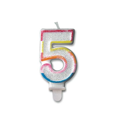 Candelina numero 5 per torta 1 pezzo