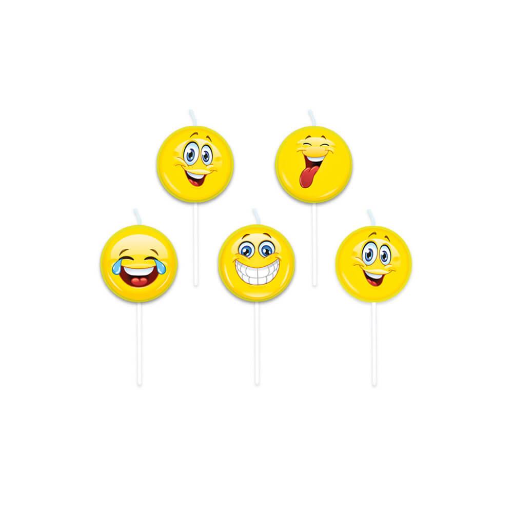 Candeline Emoji picks per torta 5 pezzi