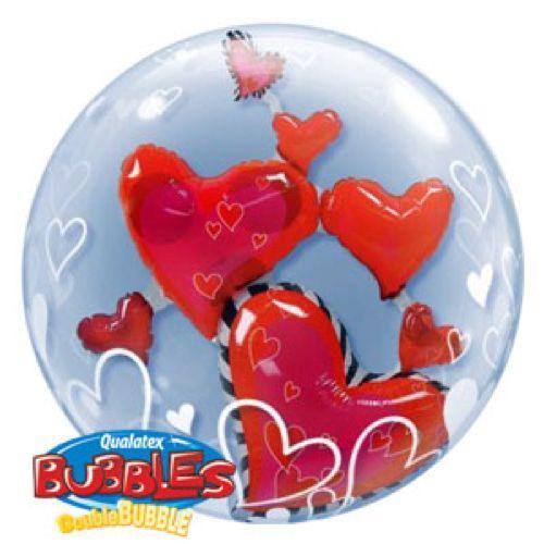 Palloncino cuori volanti Double-Bubble 61 cm 1 pezzo