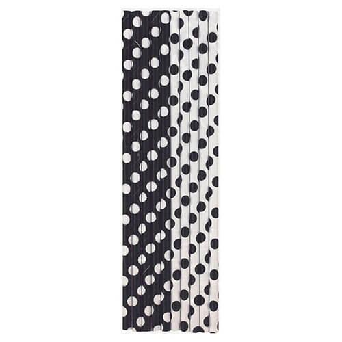 Cannucce nero pois bianco 10 pezzi