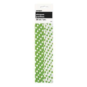 Cannucce verde lime pois bianco 10 pezzi