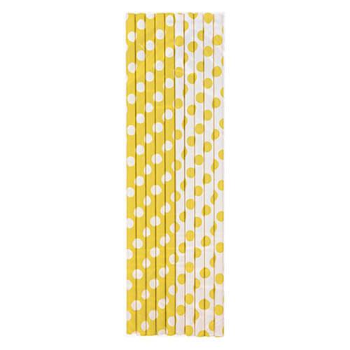 Cannucce giallo pois bianco 10 pezzi