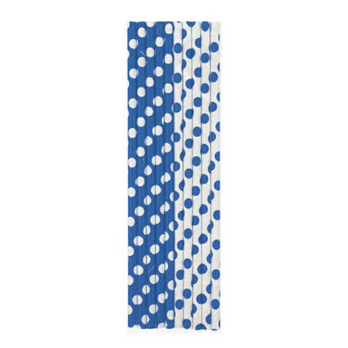 Cannucce blu pois bianco 10 pezzi