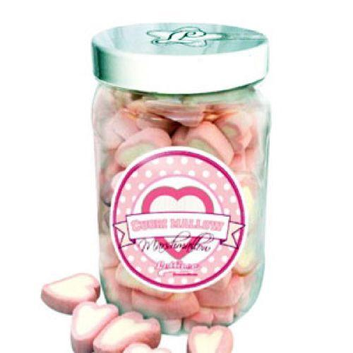 Marshmallow cuori rosa e rosso in barattolo