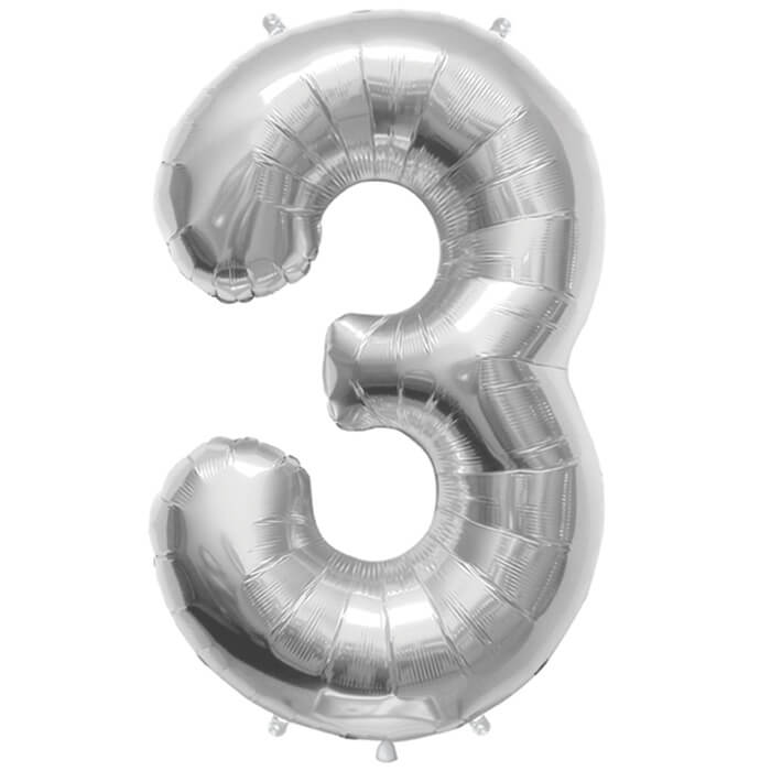Palloncino numero 3 argento NumberShape 1 pezzo