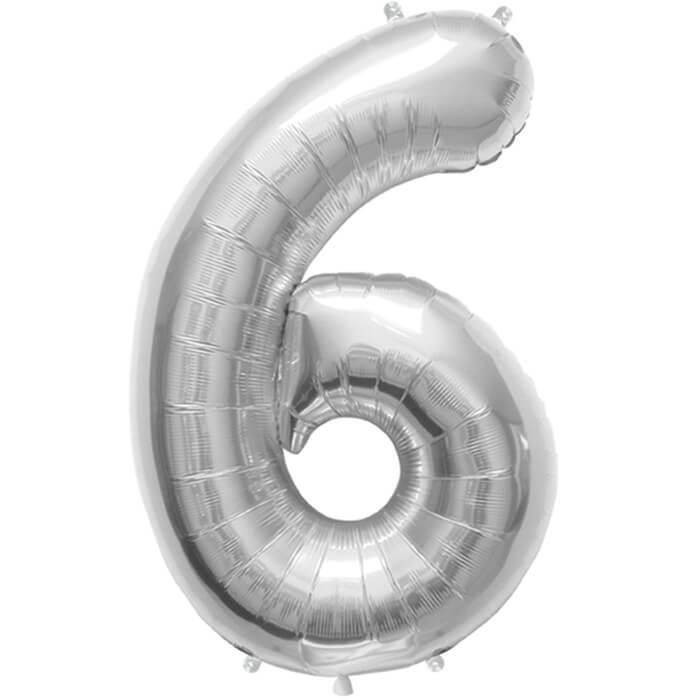 Palloncino numero 6 argento NumberShape 1 pezzo