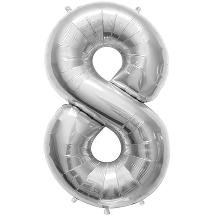 Palloncino numero 8 argento NumberShape 1 pezzo