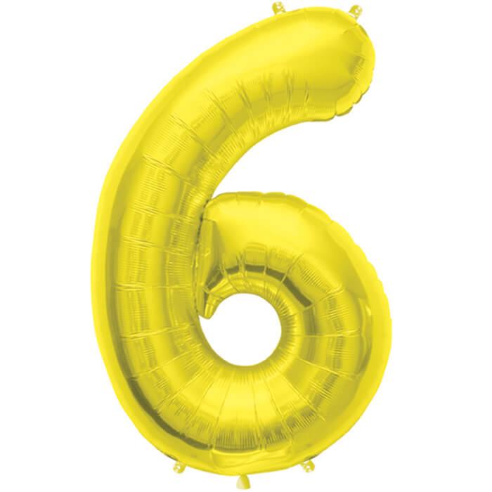 Palloncino numero 6 oro NumberShape 1 pezzo