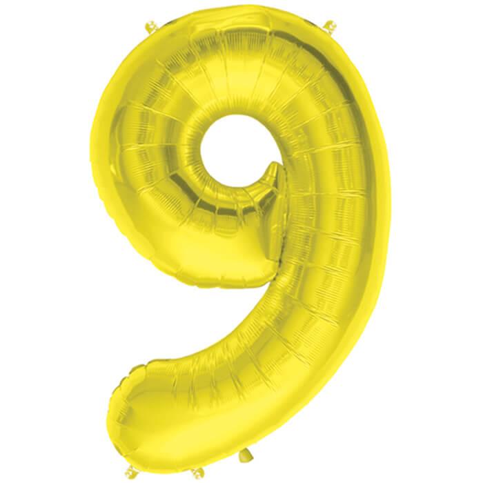 Palloncino numero 9 oro NumberShape 1 pezzo