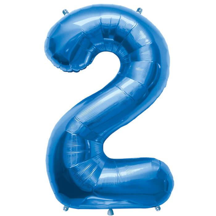 Palloncino numero 2 blu NumberShape 1 pezzo