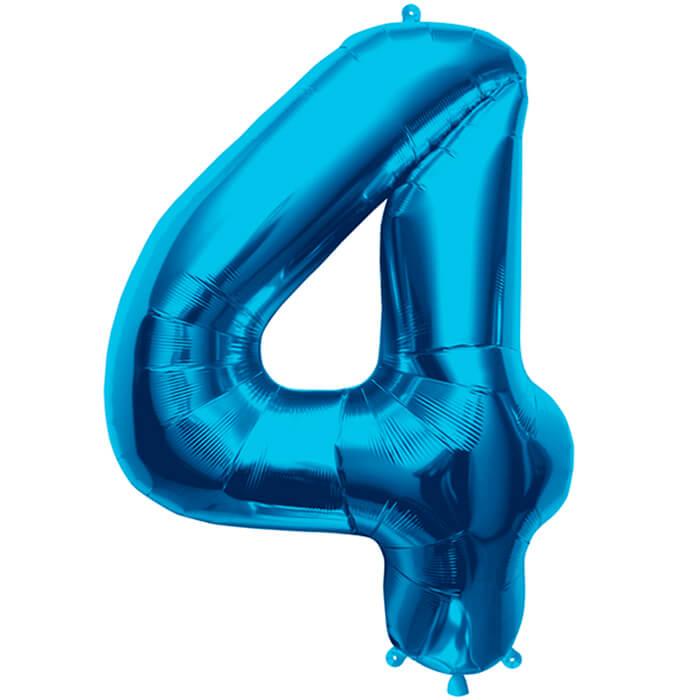 Palloncino numero 4 blu NumberShape 1 pezzo
