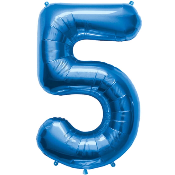Palloncino numero 5 blu NumberShape 1 pezzo