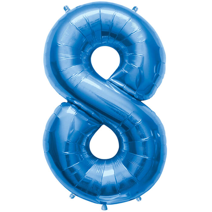 Palloncino numero 8 blu NumberShape 1 pezzo