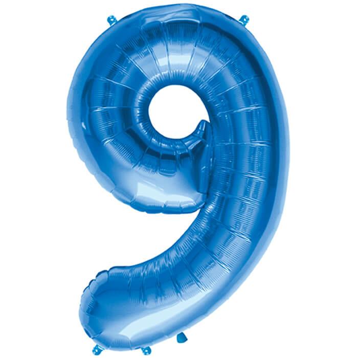 Palloncino numero 9 blu NumberShape 1 pezzo