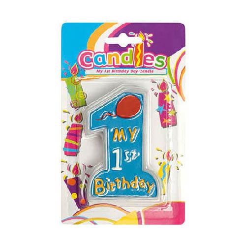 Candelina primo compleanno bambino celeste pastello 1 pezzo