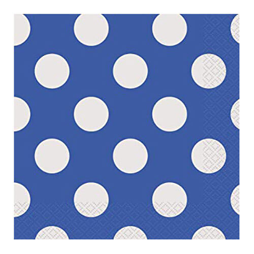 Tovaglioli blu pois bianco 16 pezzi