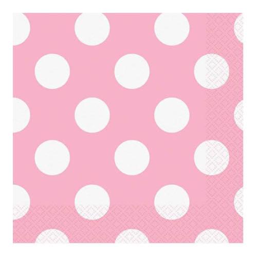 Tovaglioli rosa pastello pois 16 pezzi