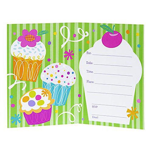 Inviti festa Cupcake con buste 8 pezzi