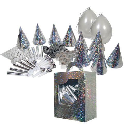 Set festa cotillons argento 190 pezzi