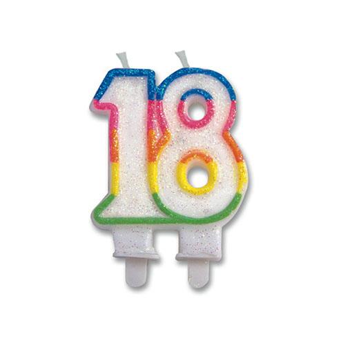 Candelina numero 18 per torta 1 pezzo