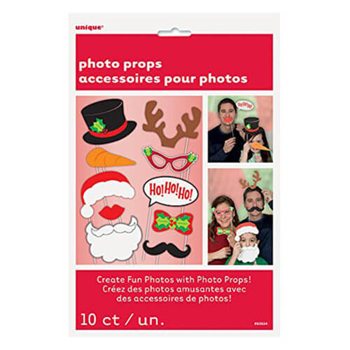 Set photo booth Natale per selfie e foto 10 pezzi