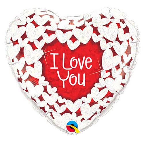 Palloncino cuore olografico scritta I Love You 45 cm 1 pezzo
