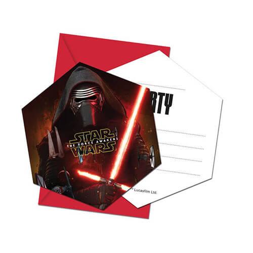 Inviti festa Star Wars con buste 6 pezzi