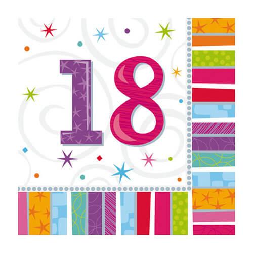 Tovaglioli Brillante 18esimo compleanno 16 pezzi