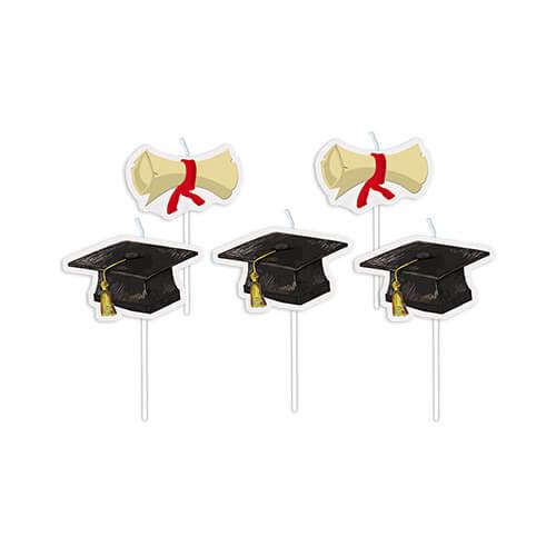 Candeline diploma e tocco Laurea per torta 5 pezzi