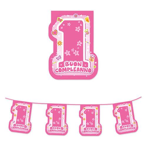 Festone primo compleanno bambina scritta numero uno 1 pezzo