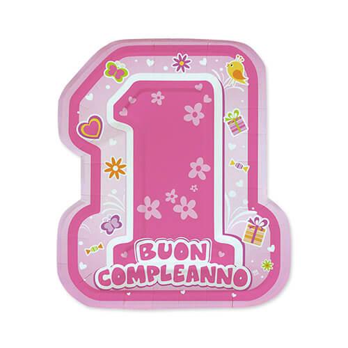 Piatti sagomati primo compleanno bambina scritta numero uno 8 pezzi