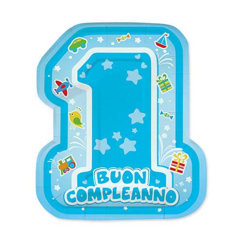 Piatti sagomati primo compleanno bambino scritta numero uno 8 pezzi