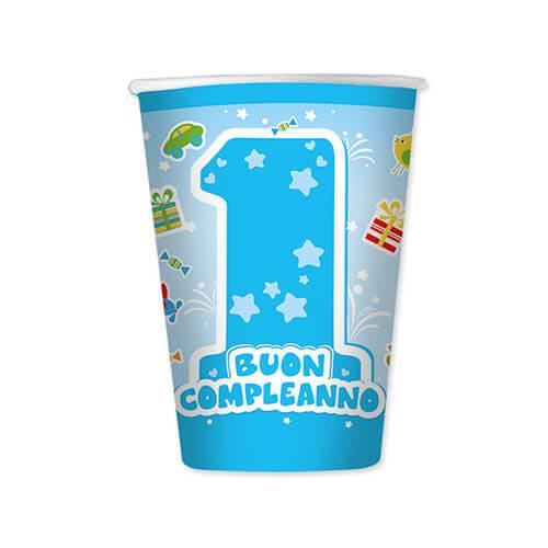 Bicchieri primo compleanno bambino scritta numero uno 8 pezzi