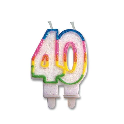 Candelina numero 40 per torta 1 pezzo