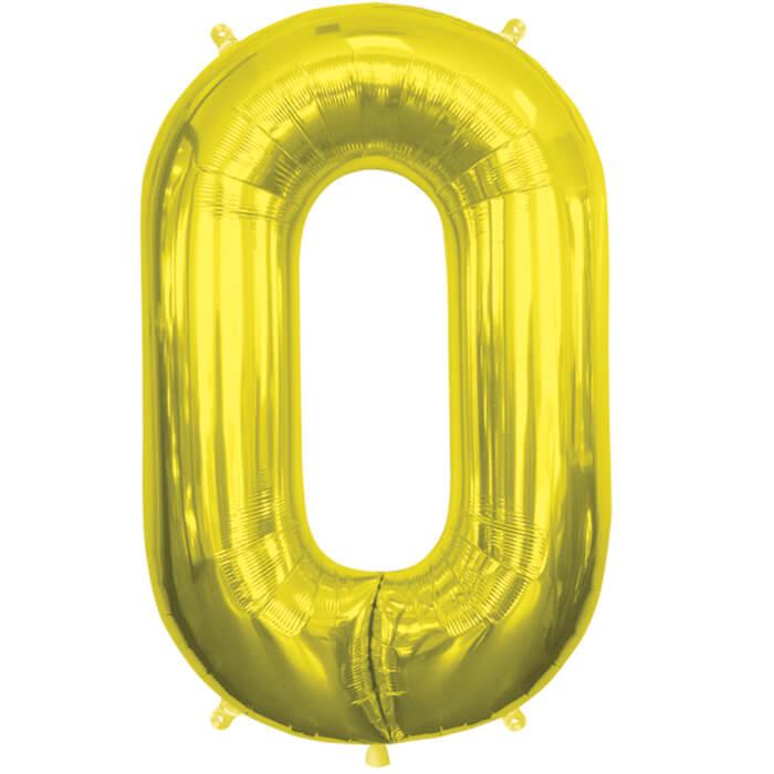 Palloncino numero 0 oro NumberShape 1 pezzo