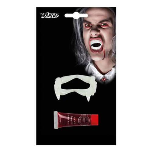 Set sangue finto e denti da vampiro scherzo per feste 2 pezzi