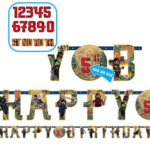 Festone Lego Ninjago happy birthday età personalizzabile 1 pezzo