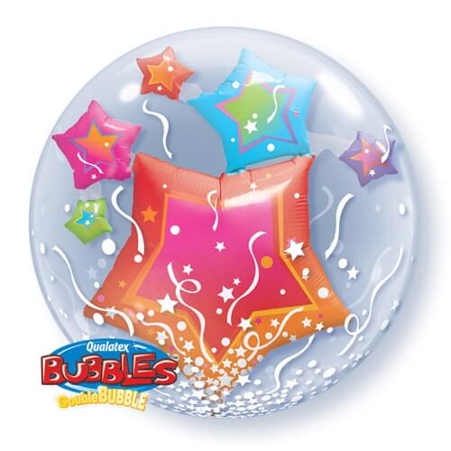 Palloncino stelle multicolore Double-Bubble 61 cm 1 pezzo