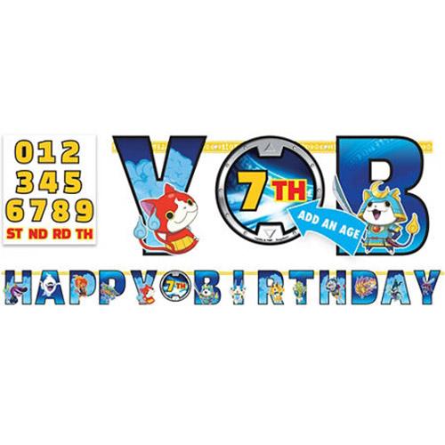 Festone Yo-kai Watch Happy Birthday anni personalizzabili 1 pezzo