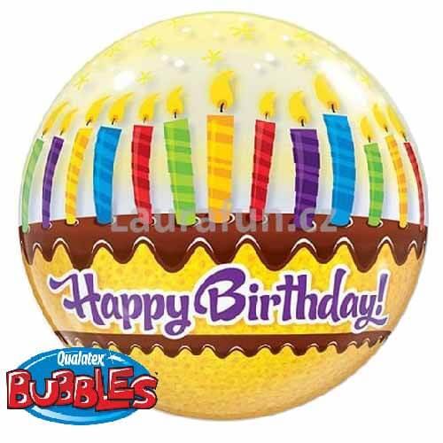 Palloncino torta compleanno scritta Happy BDay Bubble 56 cm 1 pezzo