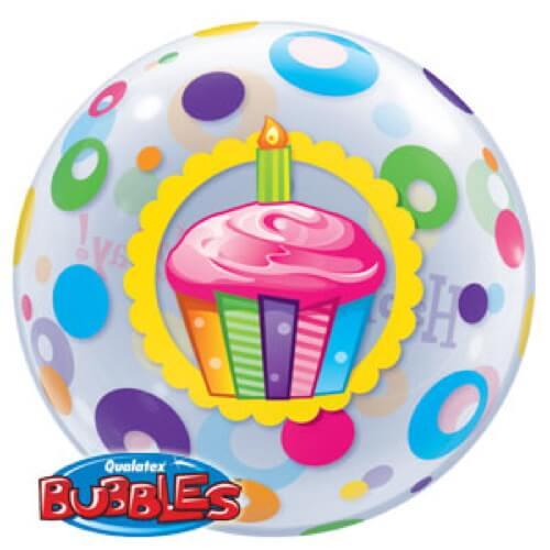 Palloncino cupcake compleanno scritta Happy BDay Bubble 56 cm 1 pezzo