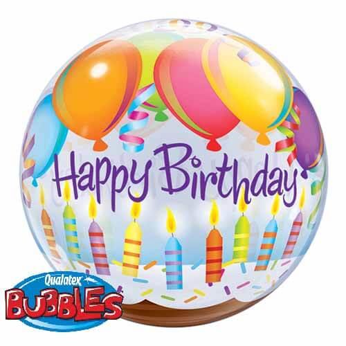 Palloncino torta compleanno palloncini scritta Happy BDay Bubble 56 cm 1 pezzo
