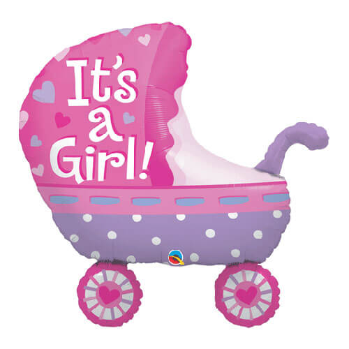 Palloncino passeggino bambina scritta It's a Girl UltraShape 1 pezzo