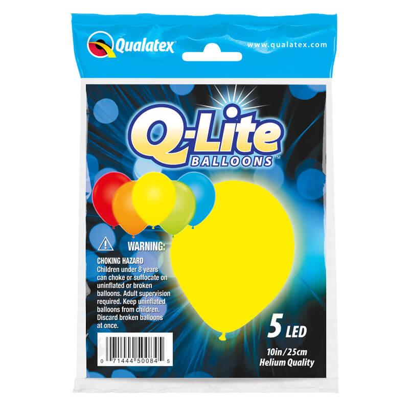 Palloncini luminosi colori assortiti in lattice Q-Lite 25 cm 5 pezzi