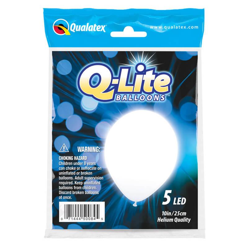 Palloncini luminosi bianco in lattice Q-Lite 25 cm 5 pezzi