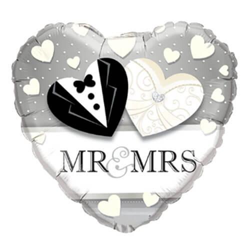 Palloncino cuore Mr and Mrs 46 cm 1 pezzo
