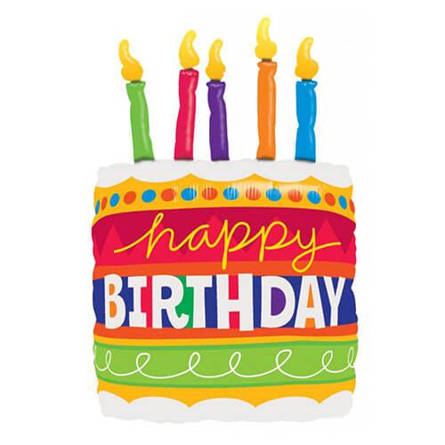 Palloncino torta compleanno scritta Happy BDay UltraShape 1 pezzo