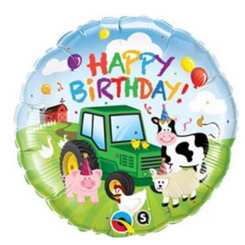 Palloncino fattoria compleanno scritta Happy BDay 45 cm 1 pezzo